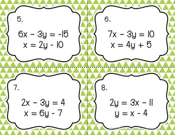 Solving Systems of Equations with Substitution Task Cards