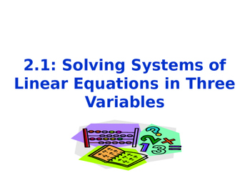 Solving Systems of Equations with Three Variables