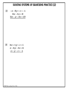 Solving Systems of Equations with Three Variables {Algebra 2 or PreCalculus}