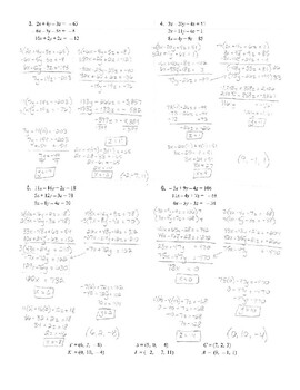 Solving Systems of Equations with Three Variables Joke Worksheet with Answer Key