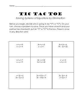 Solving Systems of Equations with the Elimination Method Tic Tac Toe Basic