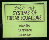 Solving Systems of Equations (Algebra Foldable)