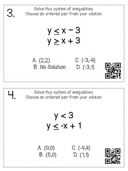 Solving Systems of Inequalities-Task Cards and Record Sheet with QR Codes