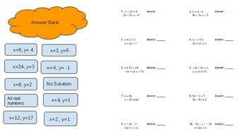 Solving Systems of Inequalities and Equations Google Slides Sort