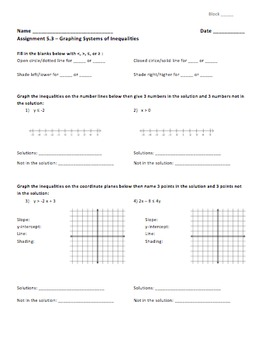 Solving Systems of Inequalities by Graphing - Assignment