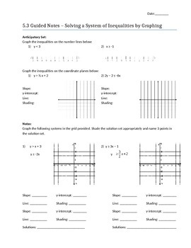 Solving Systems of Inequalities by Graphing - Notes