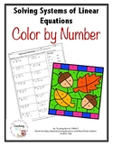 Solving Systems of Linear Equations Color by Number Activity