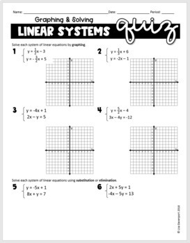 Solving Systems of Linear Equations Digital QUIZ for use with Google Forms