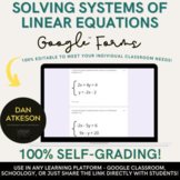 Solving Systems of Linear Equations| Homework Review or Quiz| 2 Google Forms™