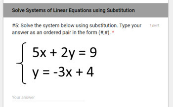 Solving Systems of Linear Equations & Inequalities TEST (Google Forms/ Quizzes)