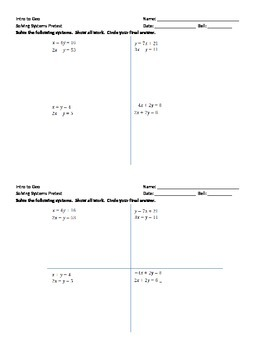 Solving Systems of Linear Equations Pretest