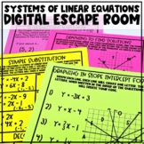 Solving Systems of Linear Equations Review Digital Escape Room Activity