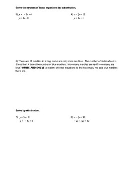 Solving Systems of Linear Equations Review Worksheet