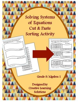 Solving Systems of Linear Equations, Sorting Activity for Middle School