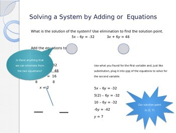 Solving Systems of Linear Equations by Eliminating