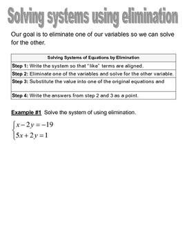 Solving Systems of Linear Equations by Elimination Graphic Organizer