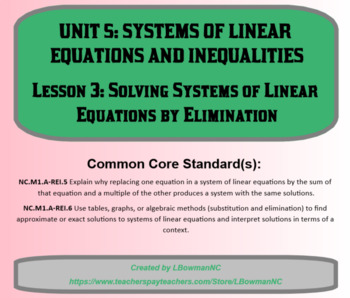 Solving Systems of Linear Equations by Elimination (Math 1)