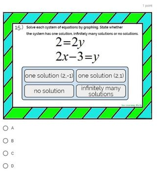 Solving Systems of Linear Equations by Graphing: Google Forms Quiz - 20 Problems