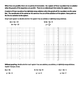 Solving Systems of Linear Equations by Graphing Investigation