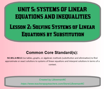 Solving Systems of Linear Equations by Substitution (Math 1)