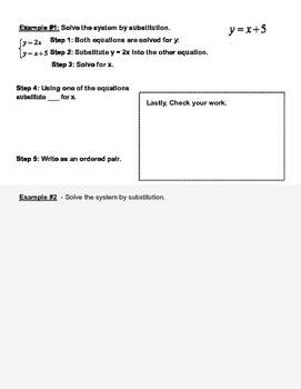 Solving Systems of Linear Equations by Substitution Graphic Organizer