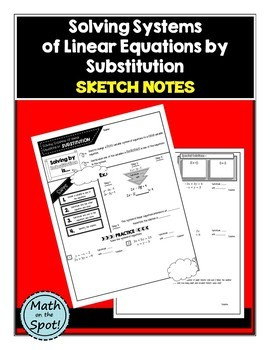 Solving Systems of Linear Equations by Substitution Sketch Notes
