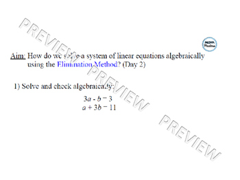 Solving Systems of Linear Equations using Elimination Lesson 2 of 2