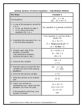 Solving Systems of Linear Equations using Substitution Graphic Organizer