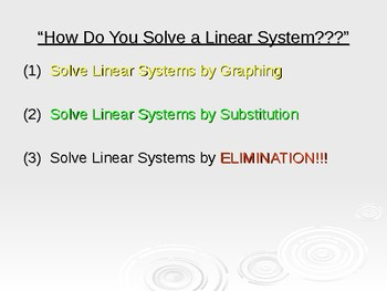 Solving Systems of Linear Equations using the ELIMINATION method.