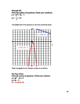 Solving Systems of Linear & Quadratic Equations Lesson Plan