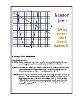 Solving Systems of Linear & Quadratic Equations Lesson Plan, Pt. II