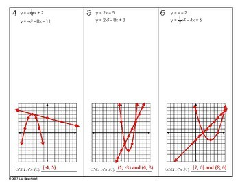 Solving Systems of Linear & Quadratic Equations by Graphing (Practice Worksheet)
