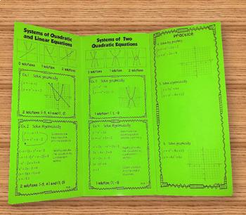 Solving Systems of Quadratic Equations  Foldable  Plus HW