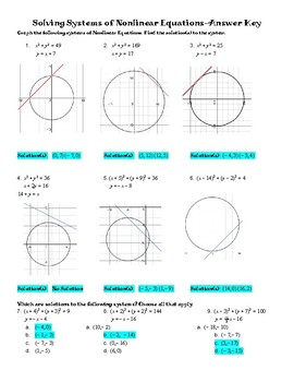 Solving Systems of circles and linear equations