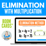 Solving Systems with Elimination Boom Cards (with multiplication)