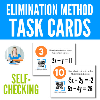 Solving Systems with Elimination Task Cards (Level 1)