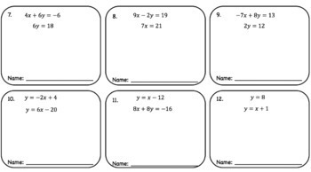 Solving Systems with Substitution Method – Cooperative Learning Activity