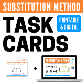 Solving Systems with Substitution Task and Boom Cards
