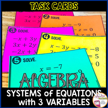 Solving Systems with Three Variables Task Cards
