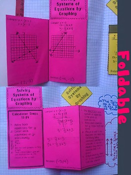 Solving Systmes of Equations by Graphing Foldable, INB, Practice, Exit