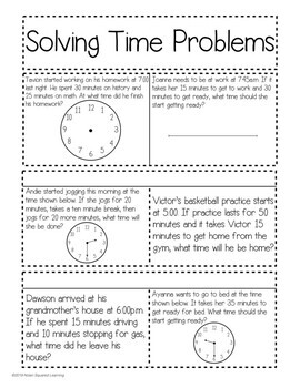Solving Time Problems Interactive Notebook Activity & Quick Check TEKS 3.7C
