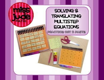 Solving & Translating Multistep Equations cut-and-paste practice activity
