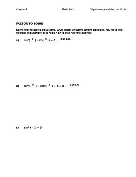 4.4 Solving Trig Equations Class Notes (Editable)