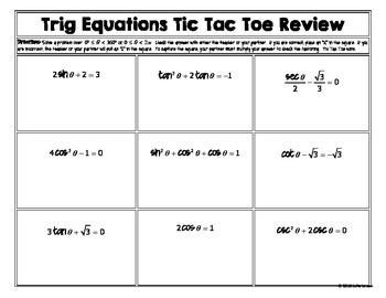 Solving Trig Equations Mixed Methods Unit Circle  T3 Tic Tac Toe Review: No Prep
