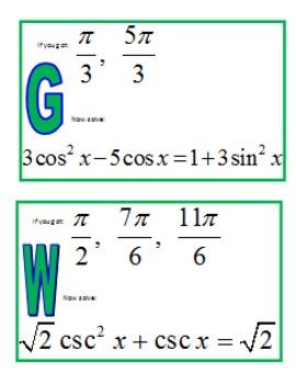 Solving Trig Equations Scavenger Hunt