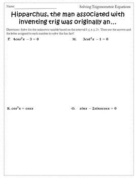 Solving Trigonometric Equations Activity {Trigonometry Activity}