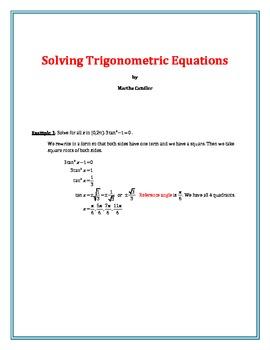 Solving Trigonometric Equations (B-8)