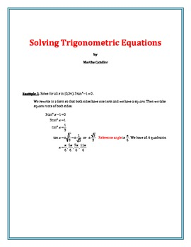 Solving Trigonometric Equations (B-8)