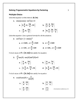 Solving Trigonometric Equations BY FACTORING - Quiz Game