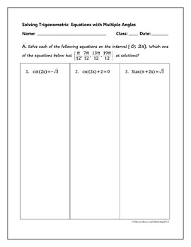 Solving Trigonometric Equations with MULTIPLE ANGLES